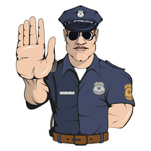 Policeman Standing In A Different Pose, Weapon, Police Officer In Uniform, Officer Logo, Officer Hat, Gun, Professional Police Character, Handgun, Vector Graphics To Design