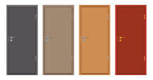 Colored Wooden Doors Isolated ...