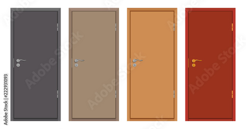 colored wooden doors isolated on white background, realistic wooden door, colour Wallpaper Mural