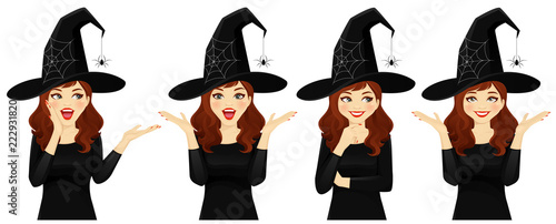 Fotografie, Obraz Surprised halloween woman in witch costume vector illustration