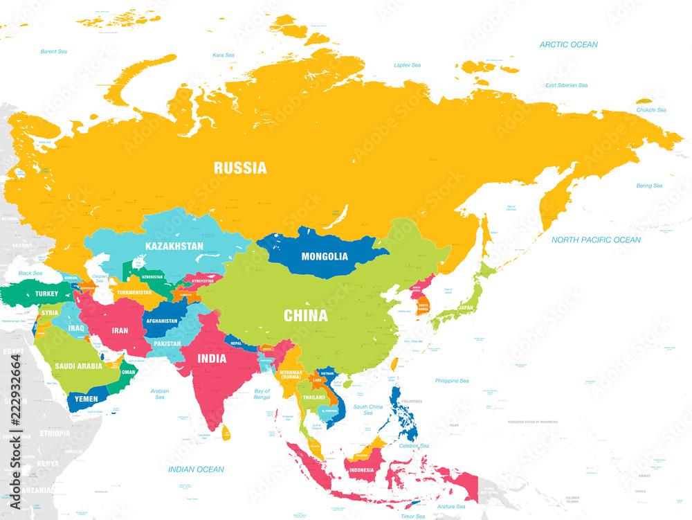 Fototapeta Colorful Vector map of Asia