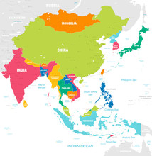Colorful Vector Map Of East Asia