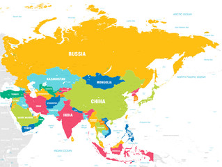 Colorful Vector map of Asia