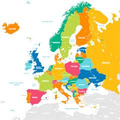 Kolorowa wektorowa mapa Europa
