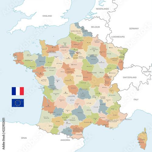 Kolorowe wektor Mapa Francji