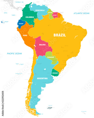 Colorful Vector map of South America Canvas
