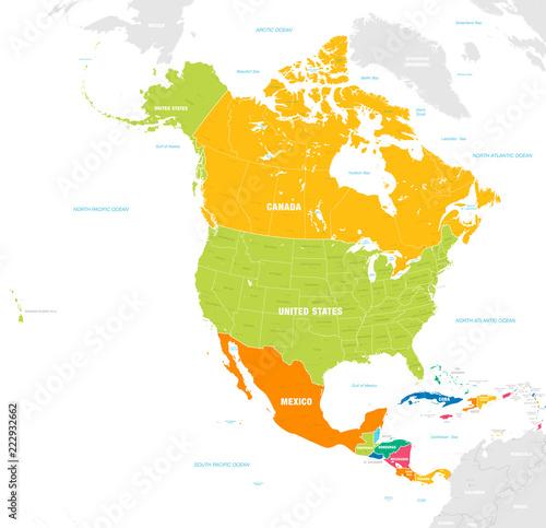 Fototapeta Mapa polityczna Ameryki Północnej i Środkowej kolorowa XXL