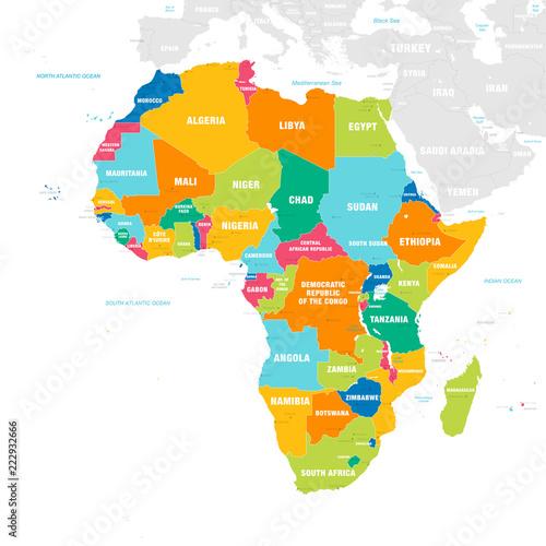Kolorowa wektorowa mapa Afryka
