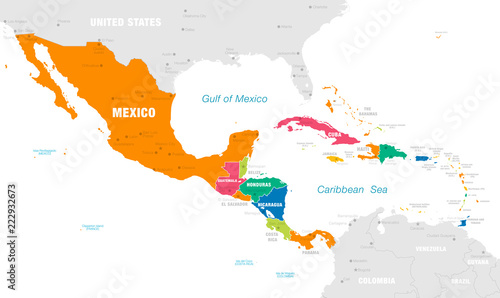Colorful Vector map of Central America – kaufen Sie diese ...