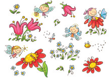 Set Of Cartoon Fairies, Insects, Flowers And Elements, Vector Graphics Isolated On White Background
