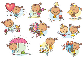 Happy and cute little girl set, vector
