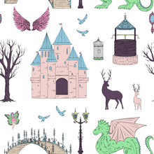 Seamless Pattern With Castle, ...