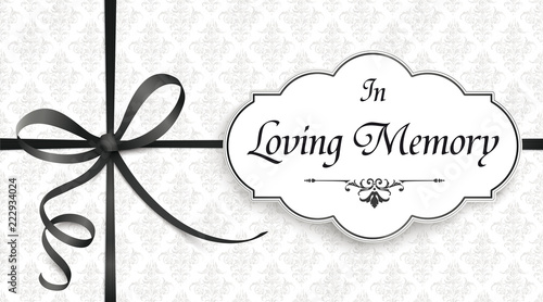 In Loving Memory Obituary Emblem Knot Cross Black Ribbon Header Tableau sur Toile