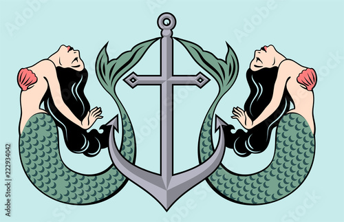 Pair of beautiful mermaids with long hair on the background of the anchor