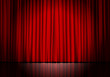 canvas print picture - Closed red curtain background and spotlight. Theatrical drapes.