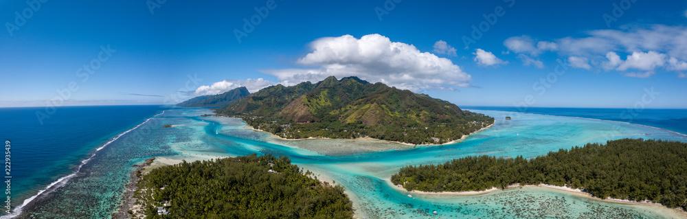 Fototapeta Moorea and tahiti island french polynesia lagoon aerial view