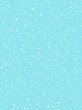 Falling Snow, Round Snowflakes, Flakes Vector Background. White Splashes On Blue Backdrop. Winter Snowfall Hand Drawn Spray Texture. Chaotic Dots, Spots Of Various Size. Christmas, New Year Template.