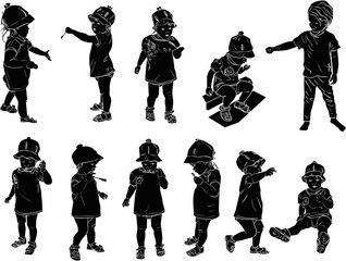 eleven children sketches collection on white