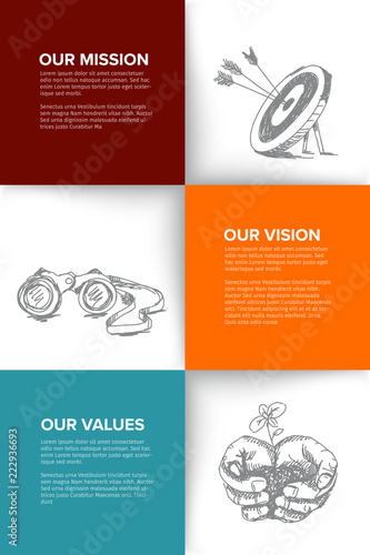 Fotomural Company profile template with mission, vision and values
