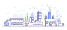 City Factory - Modern Thin Line Design Style Vector Illustration