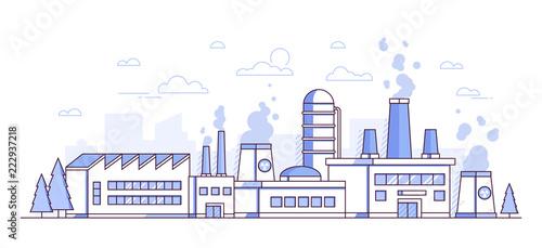 Cuadros en Lienzo City factory - modern thin line design style vector illustration
