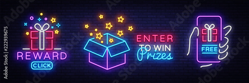 Fotomural Prizes collection Neon Sign Vector