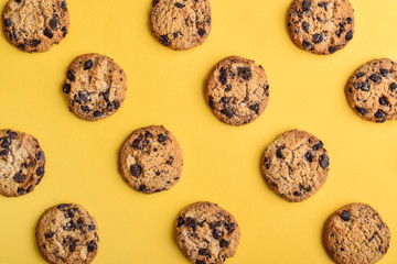Top view of chocolate chip cookies