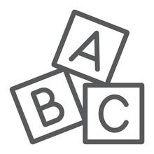 Alphabet Cubes Line Icon, Abc ...