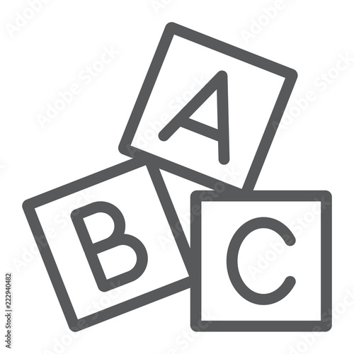 Alphabet cubes line icon, abc and toy, block sign, vector graphics, a linear pattern on a white background Canvas Print
