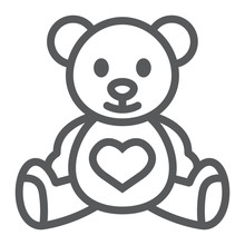 Teddy Bear Line Icon, Child And Toy, Animal Sign, Vector Graphics, A Linear Pattern On A White Background.