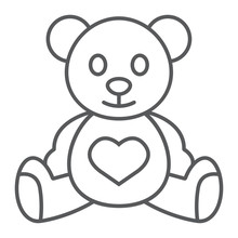 Teddy Bear Thin Line Icon, Child And Toy, Animal Sign, Vector Graphics, A Linear Pattern On A White Background.