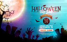 Halloween Sale Banner Illustra...