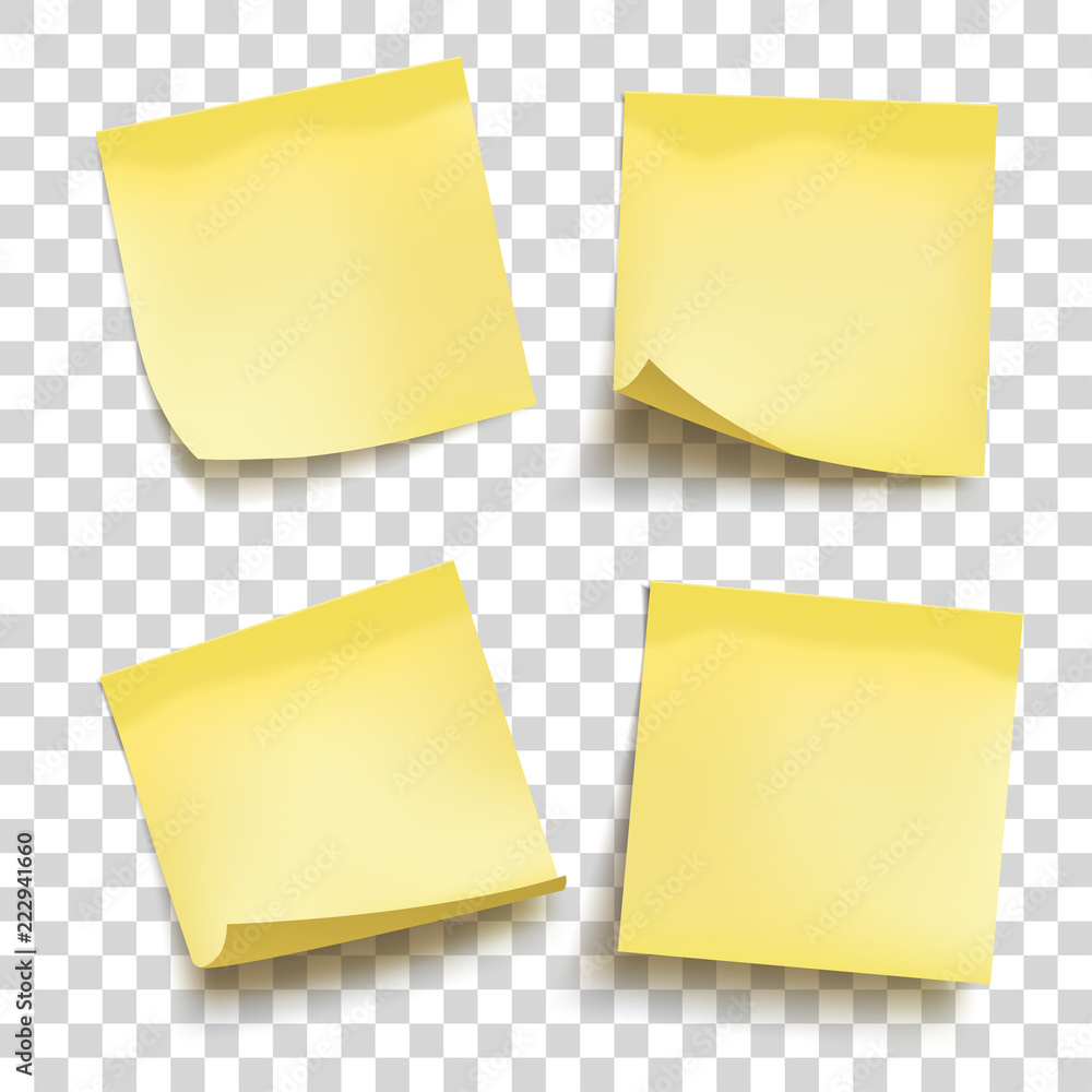 Fototapeta Set of yellow sheets of note papers. Four sticky notes. Vector illustration.
