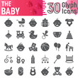 Baby glyph icon set, child symbols collection, vector sketches, logo illustrations, kid signs solid pictograms