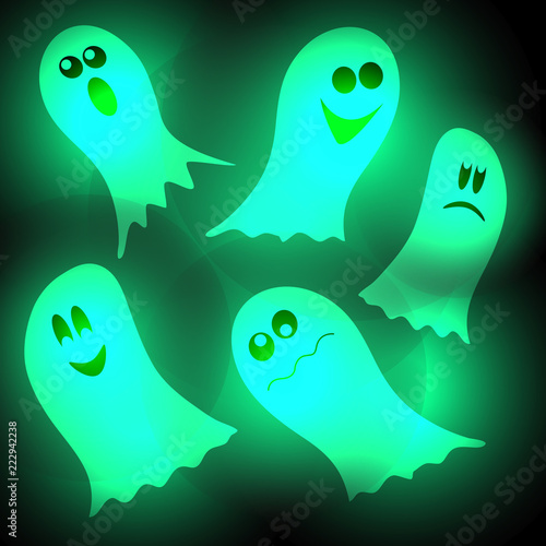Photo  Glow in the dark Ghost at the feast Hallowine on a black background