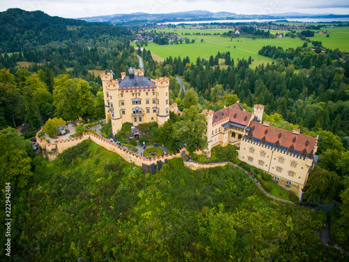 Staande foto Kasteel Castle Hohenschwangau in Germany. The Royal Palace in Bavaria. The yellow famous palace is a tourist attraction. top view