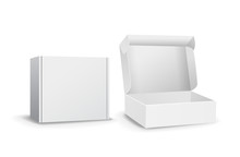 Set Of Small White Cardboard Boxes Mockups. Template For Product Packaging. Opened Box Or Closed. Vector Illustration