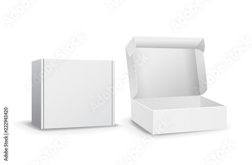 Fotografija Set of small white cardboard boxes mockups