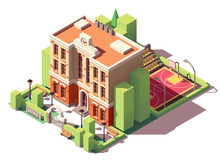 Vector Isometric School Building