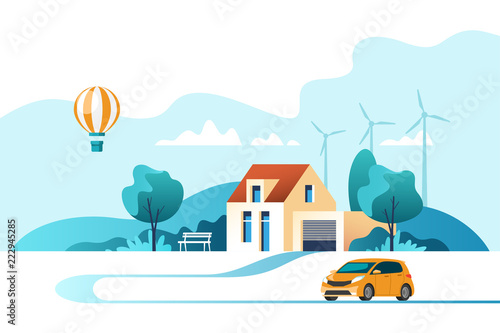 Printed kitchen splashbacks Light blue Suburban traditional house. Family home with auto. Vector illustration.