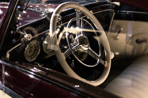 Keuken foto achterwand Vintage cars Steering wheel and part of interior of the retro