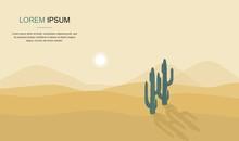 Cactus Tree In The Desert Land...