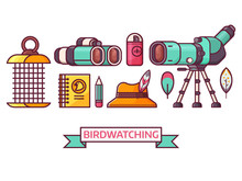 Birding Icon Set With Birdwatcher Equipment And Elements. Travel Scope, Binoculars, Birder Hat And Feathers. Ornithology And Birdwatching Icons In Line Art.