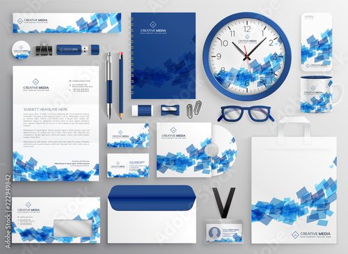 Fototapeta abstract blue business collateral set design obraz