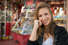Cheerful Woman Happy In Amusement Park
