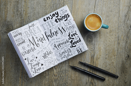 Stampa su Tela MINDFULNESS hand-lettered sketch notes in notepad on wooden desk with cup of cof