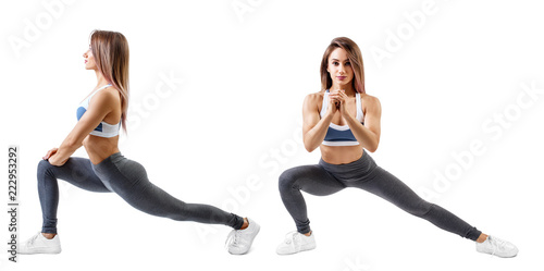 Canvas-taulu Fitness woman doing lunge exercise. Isolated on white.