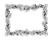Oak Frame Engraving Vector Ill...