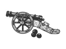 Cannon And Cannonball Engraving Vector Illustration. Scratch Board Style Imitation. Black And White Hand Drawn Image.