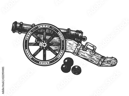 Cannon and cannonball engraving vector illustration Fotobehang